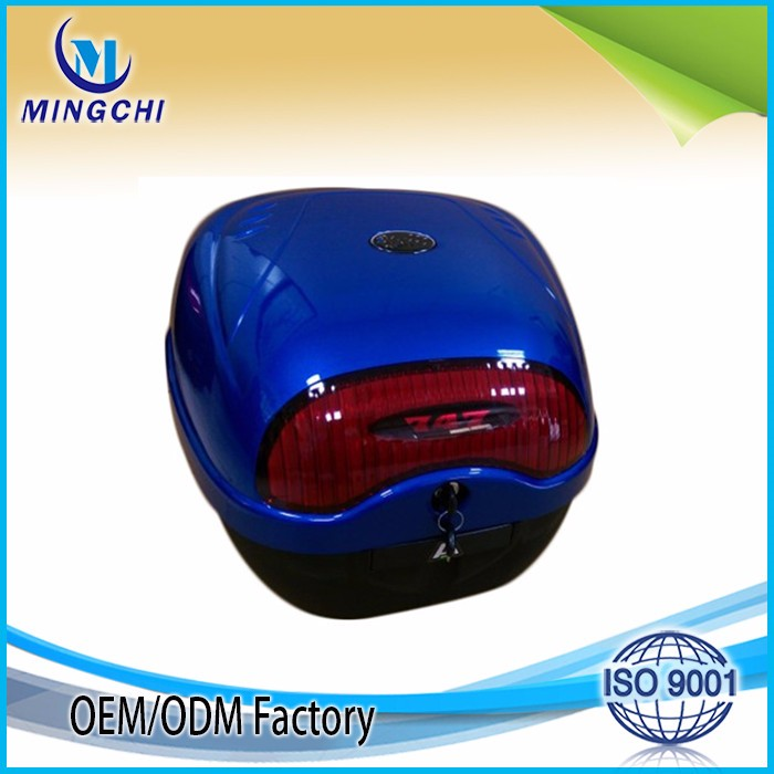 Bright blue color back box for women scooter rear box motorcycle luggage box