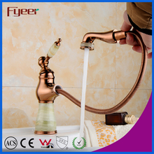 Solid Brass Rose Golden Pull Out Basin Faucet with Jade Handle and Body and Aerator