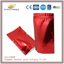 Silver color food packaging paper bags with zipper for underwear packaging