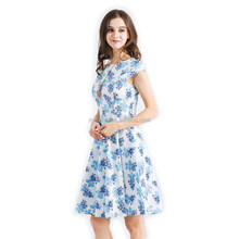 Sleeveless Dress Women Blue Midi Dress Summer A-Line Dress Casual Wear