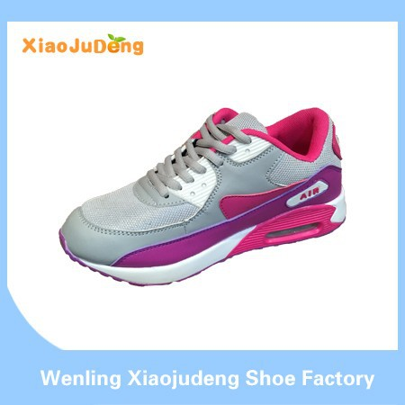 New Arrival Ladies Women Comfortable Breathable High Heel And High Ankle Lace Up Pu And Suede Air Running Sport Shoes