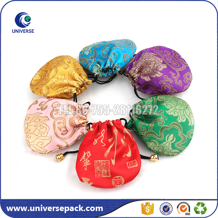 Cute Chinese traditional silk brocade coin bags with drawstring