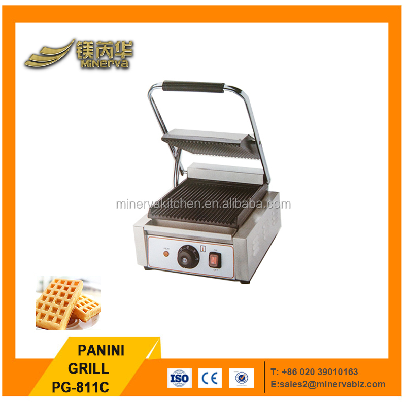 PG-811C Countertop 220v Electric Panini Sandwich Teppanyaki Grill Machine/ Non Stick Cast Iron Panini Grill