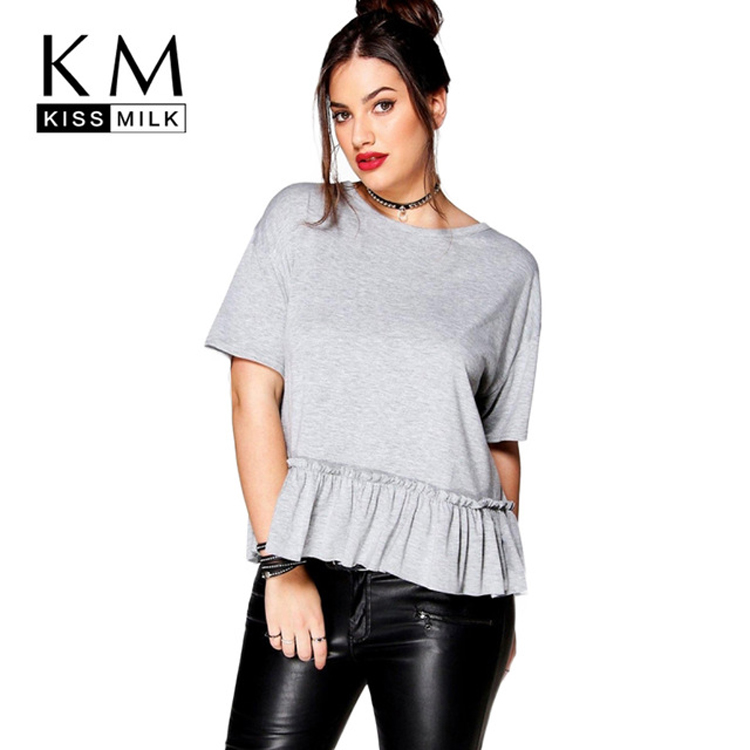 Kissmilk Women Plus Size Fashion T shirts Ruffles Solid Color Casual Basic Tees Ladies Cute Big Size Tops for Wholesale