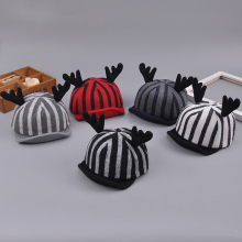 hot winter warm fashion stripe 100% wool high quality baseball cap hats for children