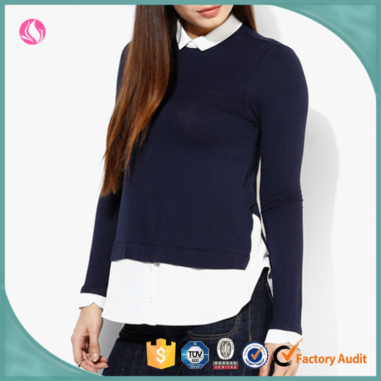 Latest Woman Modern Navy Tee Tops Long Sleeves Knit Shirt