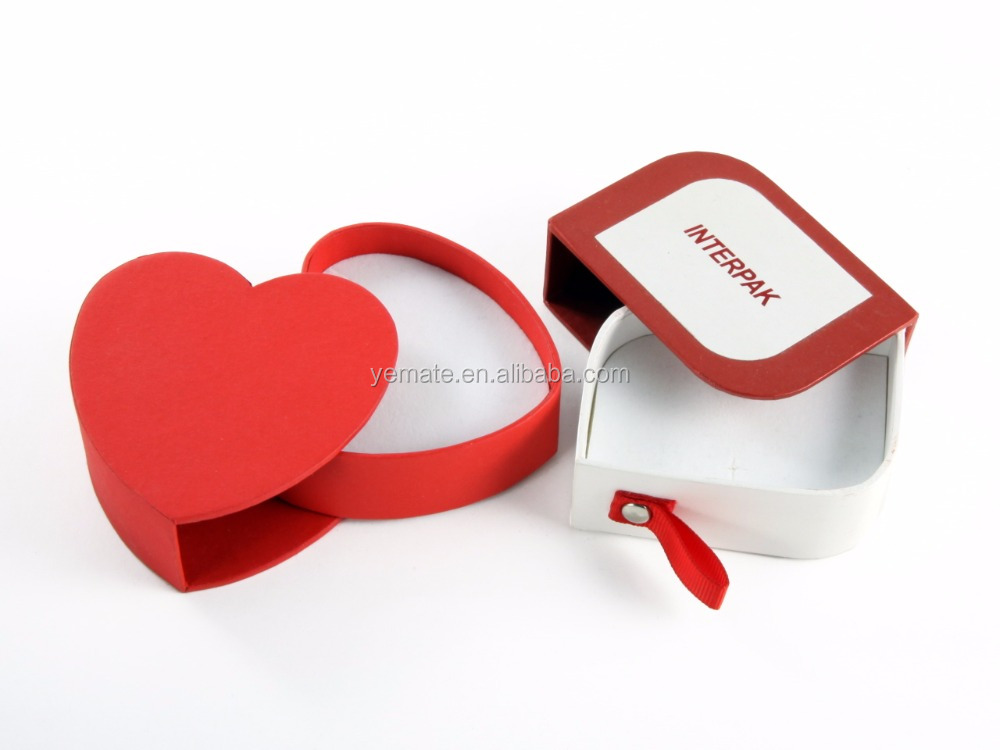 popular fashion custom design fancy printed heart shaped paper packaging jewelry earring gift box