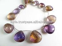 BI-COLORED AMETRINE FACETED BRIOLETTE Gemstone Beads