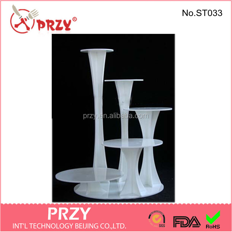 5 tier plastic white wedding cake stand