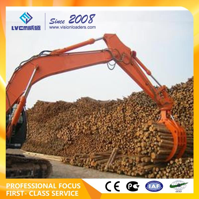 hitachi zx250k 360 degree rotation hydraulic rotating log grapple for 12-16 ton excavator