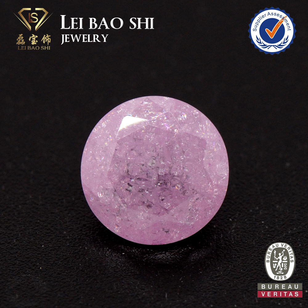 AAA Grade Light pink Round snowflake gem stone Ice Cubic Zirconia