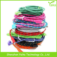 nylon braided usb cable mobile phone data cable for v8 Android phone
