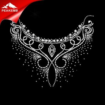 AB Crystal Hotfix for Women T Shirt Color Neckline Rhinestone Print Transfer
