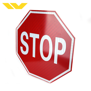 Red white OEM traffic warning directional reflective road stop sign