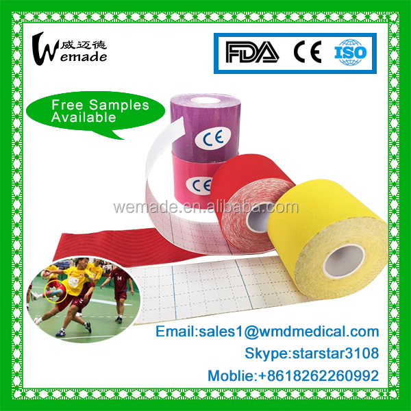 High Quality Strong Adhesive Glue 100% Cotton Elastic Tape Kinesiology Tape For Sports/ Therapy/Athlete