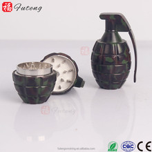FT-5066 YiWu FuTeng zinc alloy Hot Sell 3 Piece Wholesale Grinding of tobacco Hand Grenad Design Herb Grinder