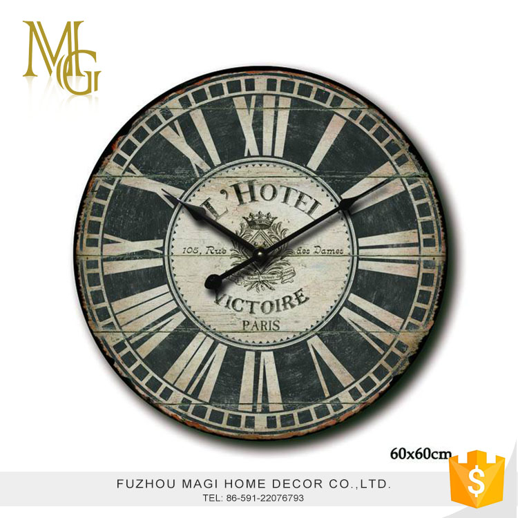 French Style Antique Painted Wooden Wall Clock