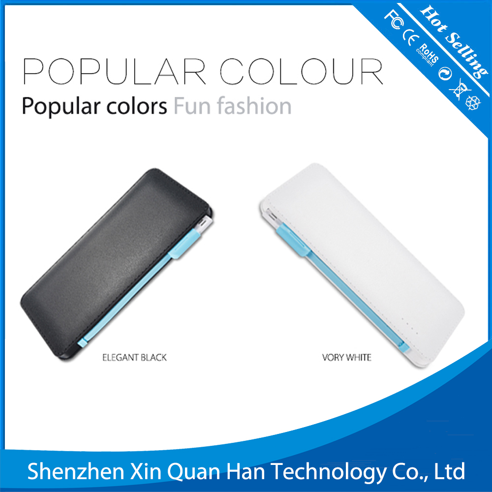 2 - in - 1 Mobile Phone 6000mah portable usb power bank with built in charging cable