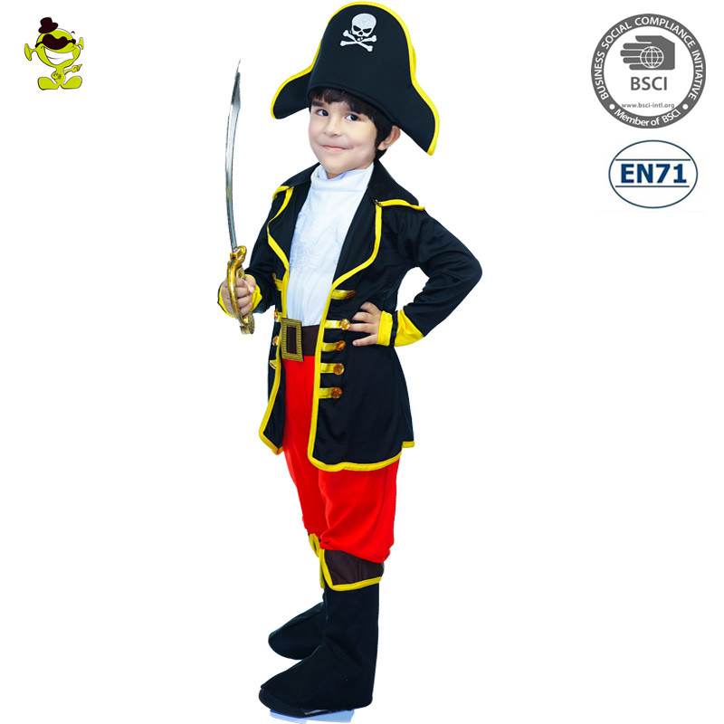 New Design Pirate Boy Costumes Halloween Masquerade Party Outfits Disguise Fancy Dress For Boys