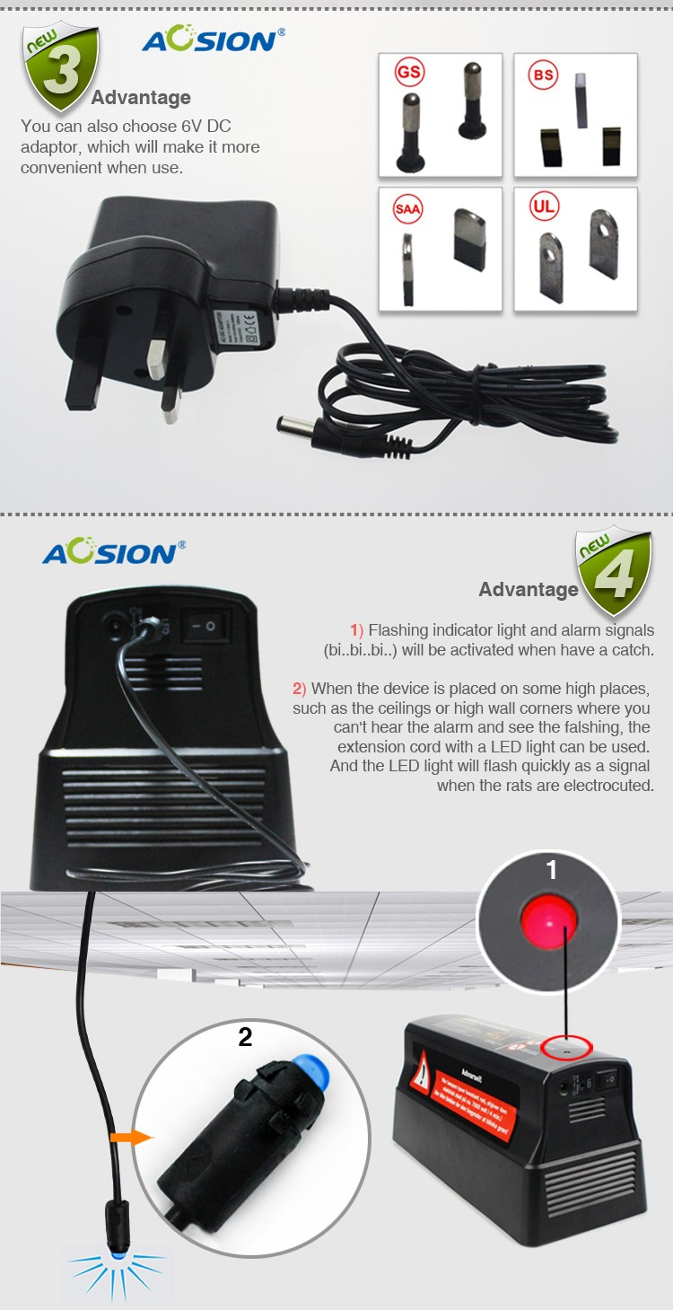 Aosion Triple protection indoor effetive mouse rat electric mouse trap