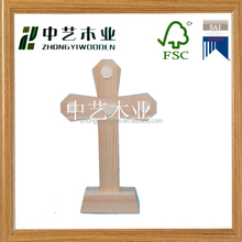 hot selling china factory FSC&SA8000 handmade standing cross wooden Christmas crafts for shopping gift