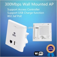 OEM 300Mbps Hotel In-wall 24V PoE Wireless Access Point WiFi AP with USB Port