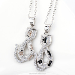 Lovely different color zircon cat jewelry pendants with silver chain