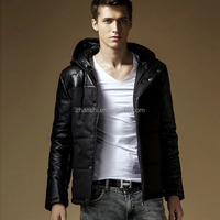 2015 fashion custom Korea design leather sleeve winter soft thin down jacket