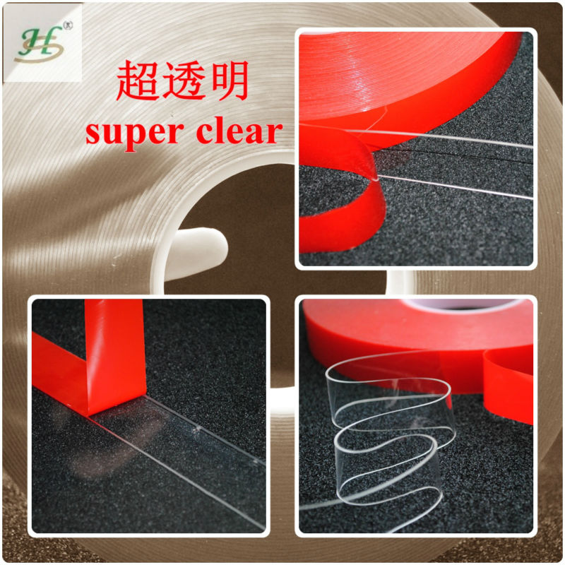 Transparent Acrylic Foam Tape With Red Liner And Acrylic Adhesive For Car Parts Decoration And Metal Glass Adhesion