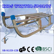 Kids Winter Sports Snow Wooden Folding Sledge 110CM for Christmas Gifts(SB-Sled-12B)