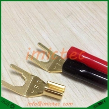 2018 newly selling Gold Plated Copper Grade Interpolation Y Y U- type Screw Spade Banana Plug Speaker Cable Wire Connectors