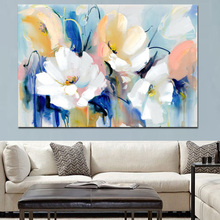 High Quality Abstract Flowers Canvas Painting Large Size Framed On Sale