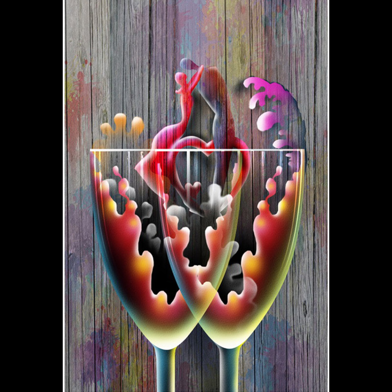 Wall Art Fruit Grape Wine Glass Painting Modern Canvas Prints Canvas Art Abstract Painting