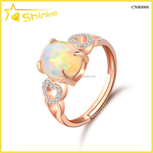 wholesale price sterling silver rose gold plating opal stone rings