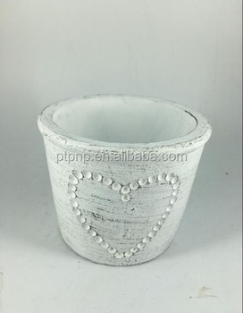 White colour in simply design cement flower pot for garden deco