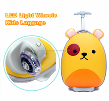 Dog Shell Light Weight 16'' Carry On Children 's Travel Trolley Suitcase with LED Wheels