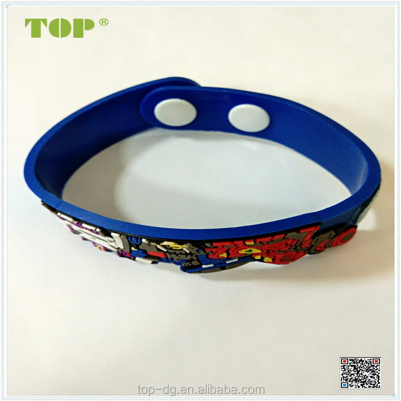 custom cheap rubber silicone /PVC /Rubber Button Bracelet/wristband with emboss figure
