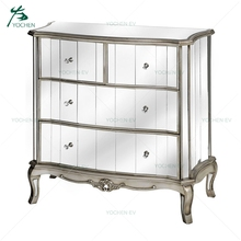 French Style Silver Glass Antique Silver Mirrored 4 Drawers Chest Of Drawer