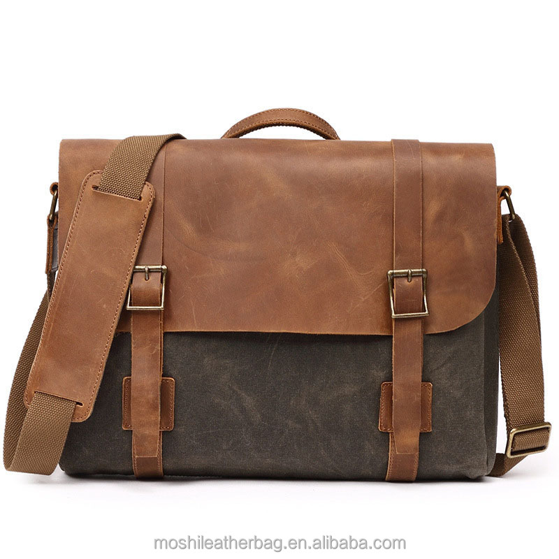 Waxed Canvas Leather Bag Canvas Shoulder Messenger Bag