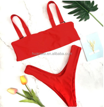 New Hot Selling Products Young Girl Models Sexy Bikini Bandeau Pure Color Two Piece Women Swimwear