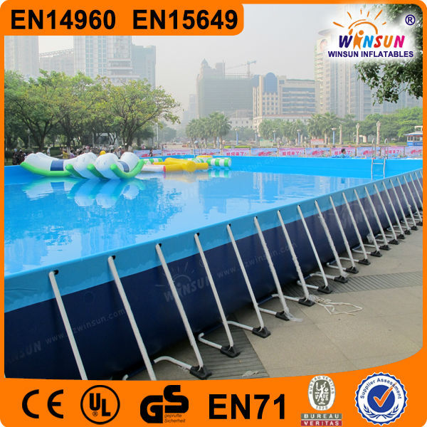 Outdoor portable PVC large rectangular used swimming pool for sale