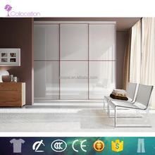 High quality white glass wooden wardrobe