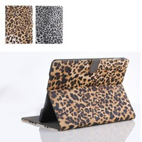 NEW arrive!! leopard pattern leather case for ipad air 2 Cover with stand and credit card slot