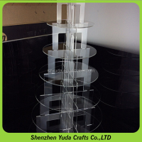 shenzhen supplier 7 tiers acrylic cup cakes stand transparent plactis wedding cake shelves collapsible acrylic cupcakes stands