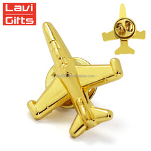 Personalized Custom Metal 3D Gold Airplane Lapel Pin Wholesale