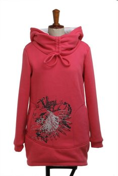 Women's long hoodies standing collar pullovers