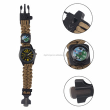 Tactical Multi-function Survival Wrist Paracord Watch With Fire Starter