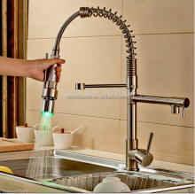 LED Color Changing Spring Dual Spout Kitchen Sink Faucet Deck Mount Brass Hot and Cold Water Kitchen Mixer Taps