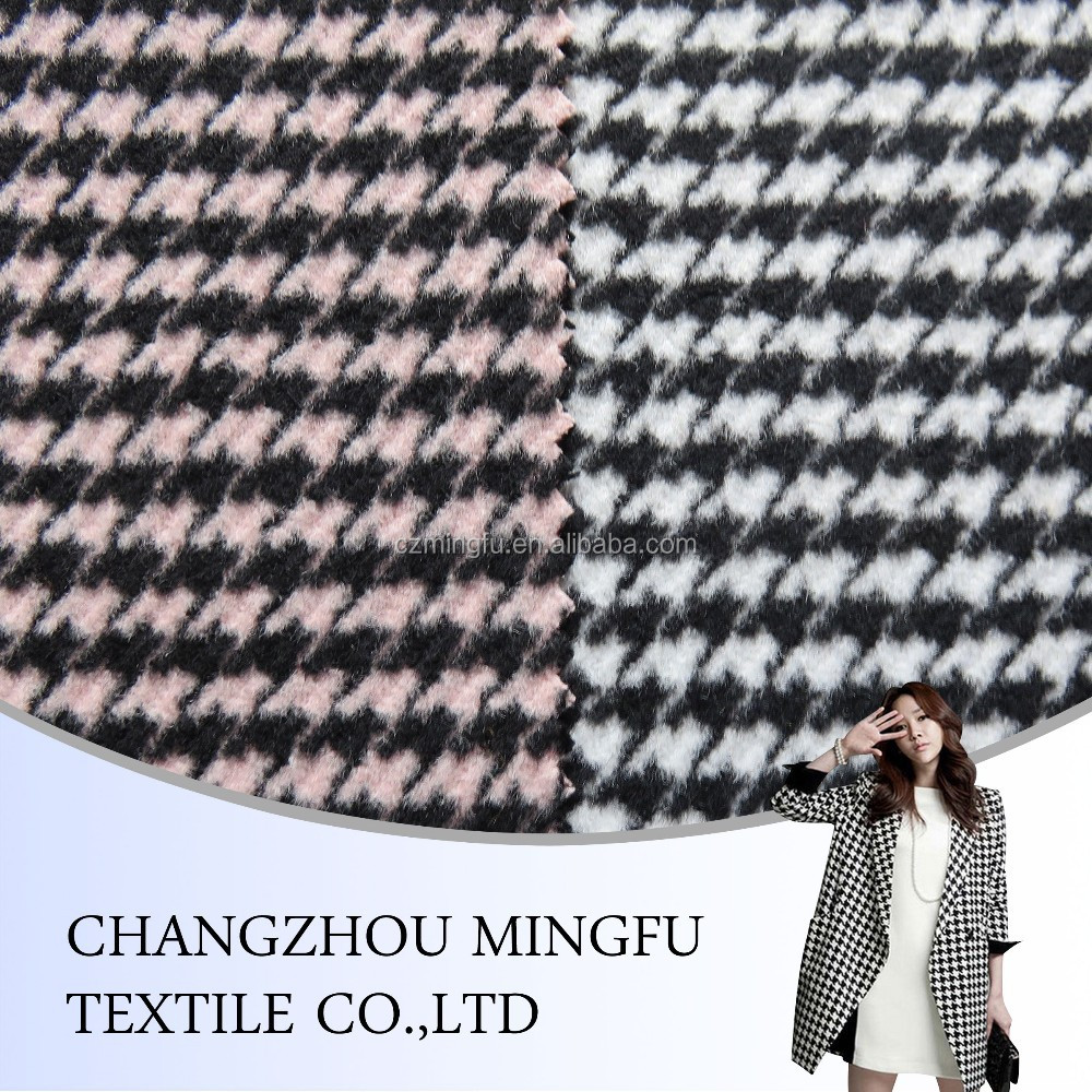 wholesale colourful wool fabric in jiangsu china/wool polyester blend fabric,houndstooth and swallow gird