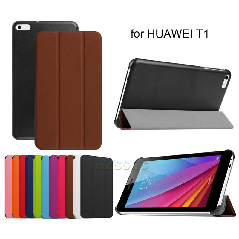 Protective 7 inch triple folding PU leather stand tablet flip case for Huawei T1